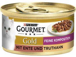 Purina GOURMET Katzennassfutter Gold Feine Komposition mit Ente Truthahn