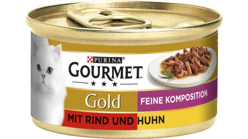 Purina GOURMET Katzennassfutter Gold Feine Komposition mit Rind Huhn