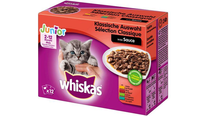 Whiskas Katzennassfutter Junior Klassische Auswahl in Sauce 12X100G Portionsbeutel Multipack