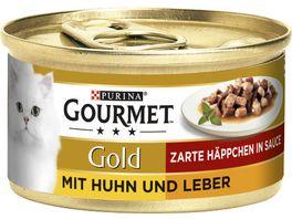Purina GOURMET Katzennassfutter Gold Zarte Haeppchen mit Huhn Leber