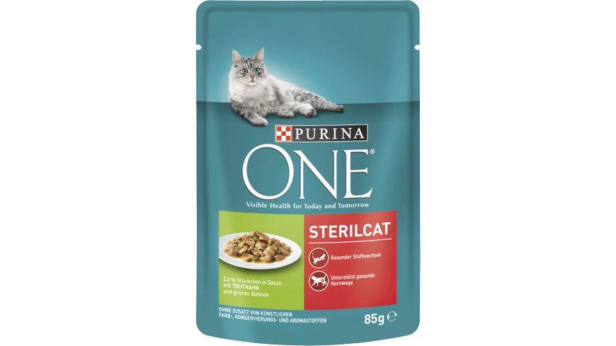 Purina ONE Katzennassfutter Sterilcat mit Truthahn und gruenen Bohnen Portionsbeutel