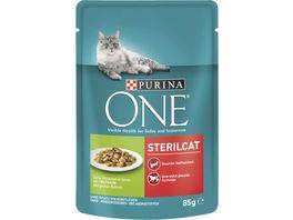 Purina ONE Katzennassfutter Sterilcat mit Truthahn und gruenen Bohnen 24x85g Portionsbeutel