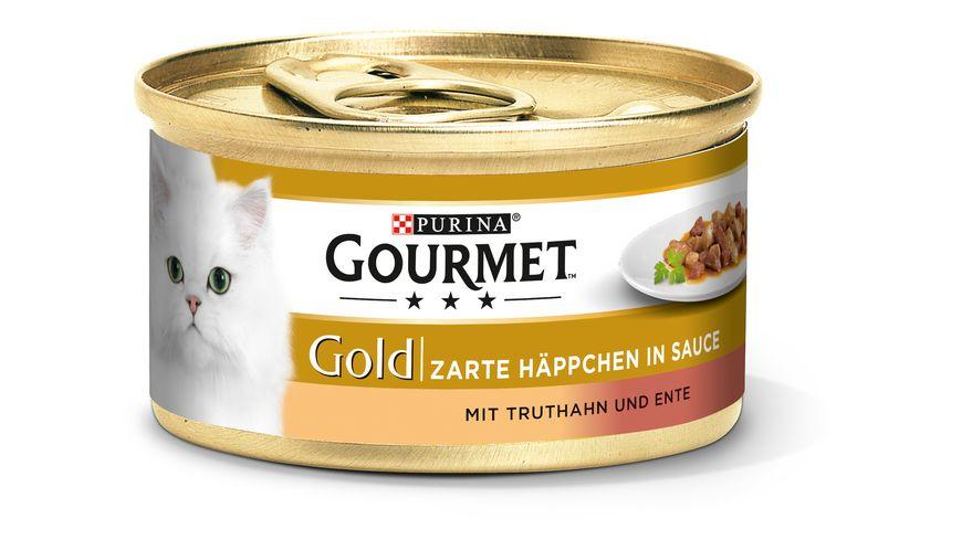 Purina GOURMET Katzennassfutter Gold Zarte Haeppchen mit Truthahn Ente