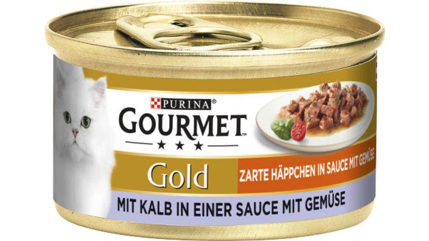 Purina GOURMET Katzennassfutter Gold Zarte Häppchen mit Kalb & Gemüse