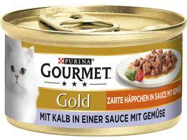 Purina GOURMET Katzennassfutter Gold Zarte Haeppchen mit Kalb Gemuese