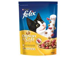 felix Katzentrockenfutter Crunchy Soft mit Huhn Truthahn und Gemuesezugabe