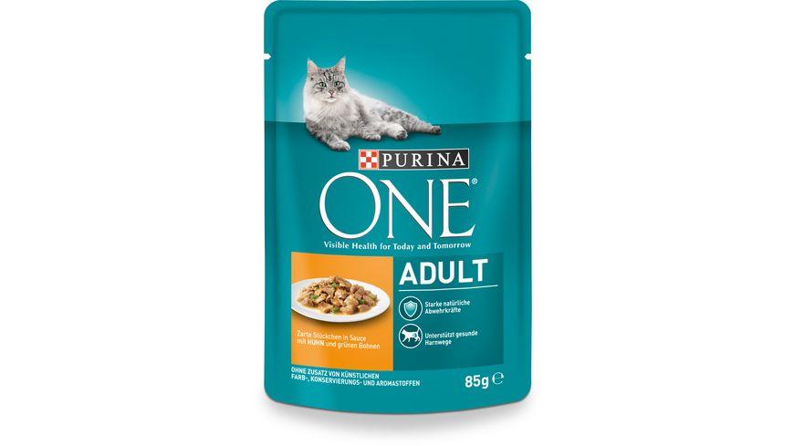 Purina ONE Katzennassfutter Adult mit Huhn und grünen Bohnen Portionsbeutel