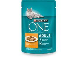 Purina ONE Katzennassfutter Adult mit Huhn und gruenen Bohnen 24x85g Portionsbeutel