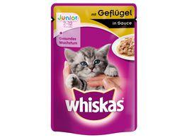 Whiskas Katzennassfutter Junior mit Gefluegel in Sauce Portionsbeutel