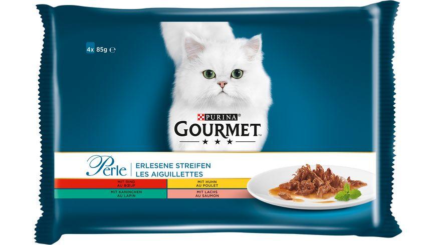 Purina GOURMET Katzennassfutter Perle Erlesene Streifen mit Rind Kaninchen Lachs Huhn 4x85g Portionsbeutel