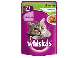 Whiskas Katzennassfutter 7 Lamm in Gelee Portionsbeutel