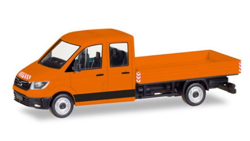 Herpa 93453 MAN TGE Doppelkabine mit Pritsche kommunalorange