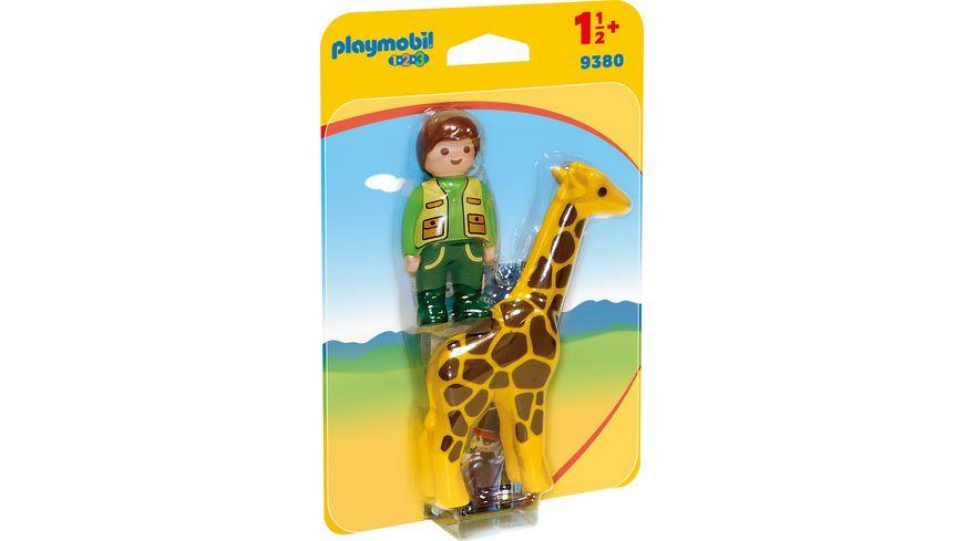 PLAYMOBIL 9380 1 2 3 Tierpfleger mit Giraffe