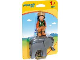 PLAYMOBIL 9381 1 2 3 Tierpflegerin mit Elefant