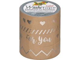 folia Washi Tape Hotfoil silber II 4er Set