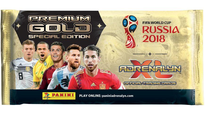 Panini FIFA World Cup Russia 2018 SONDERTUeTE PREMIUM GOLD 1 Premium Gold Booster mit 10 Karten 3 limited Edition Cards Dani Alves Sergio Ramos Toni Kroos Premium Gold Online Card