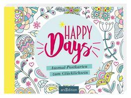 Happy Days Ausmal Postkarten zum Gluecklichsein