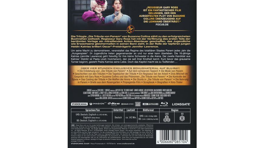 Die Tribute von Panem The Hunger Games 4K Ultra HD Blu ray