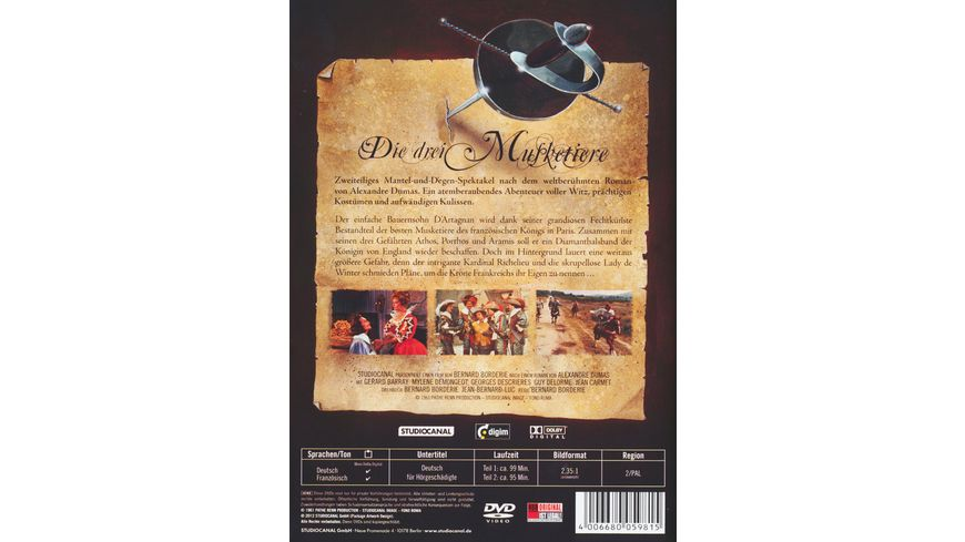 Die drei Musketiere Teil 1 2 2 DVDs