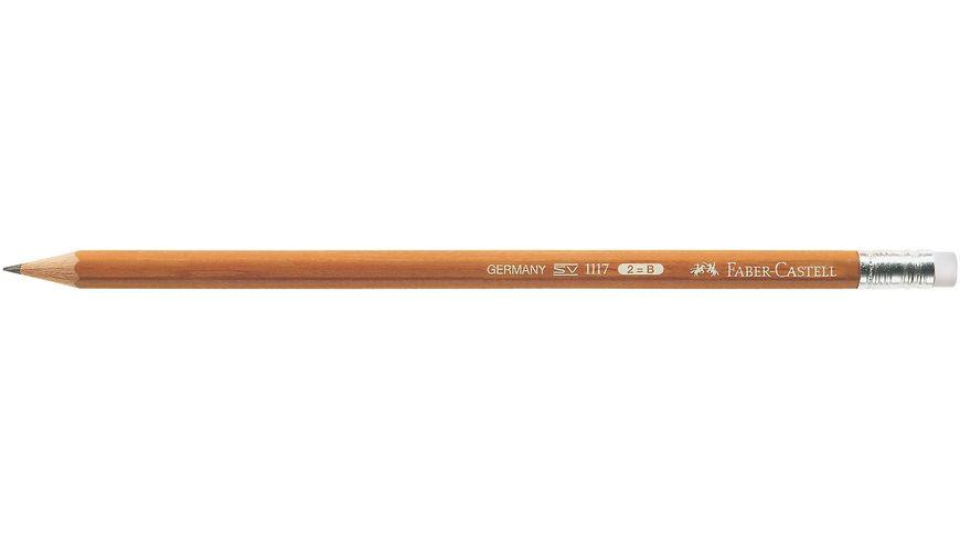 FABER CASTELL Bleistift CASTELL NATUR B mit Radiergummi