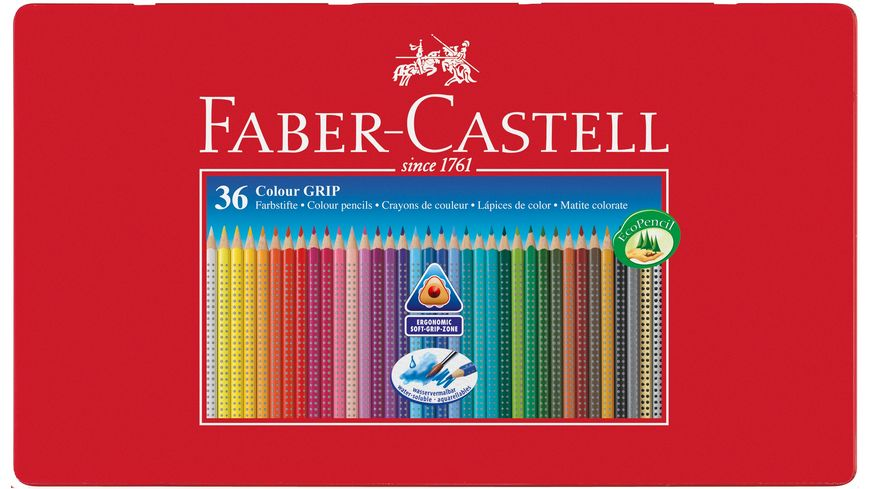 FABER CASTELL Farbstift CASTELL GRIP COLOUR 36er Metalletui