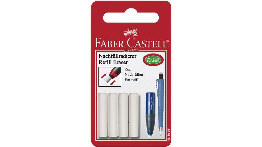 FABER CASTELL Ersatzradierer fuer Radierstift Eraser Pen 4er Packung