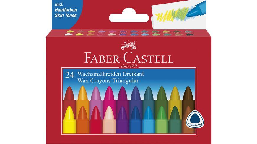 FABER CASTELL Wachsmalstifte Castell dreikant 24er Kartonetui