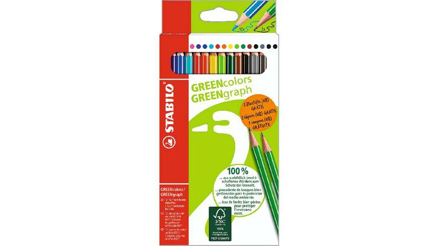 STABILO Umweltfreundlicher Buntstift GREENcolors 12er Pack inkl 2 Bleistifte