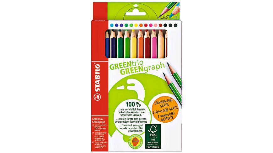 STABILO Umweltfreundlicher Dreikant Buntstift GREENtrio 12er Pack