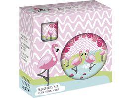 p os Porzellan Fruehstuecksset Flamingo 3tlg