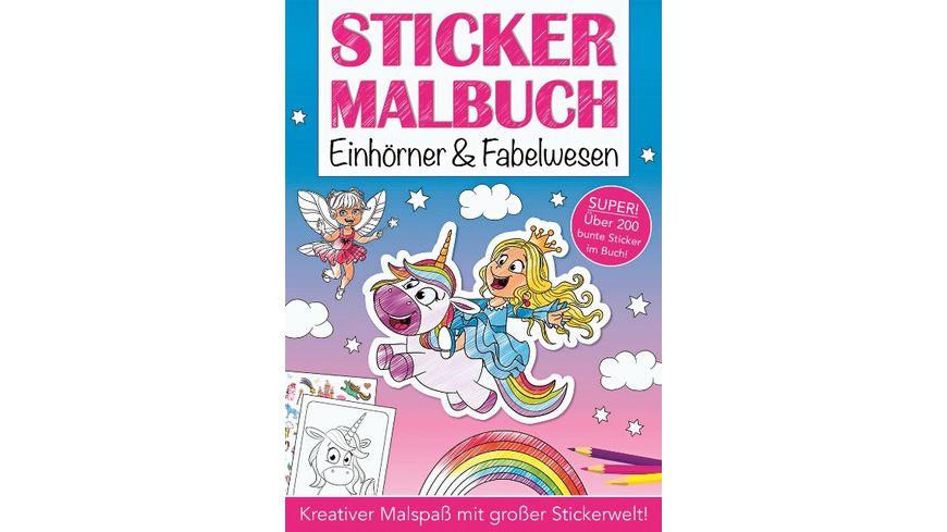 Mal und Stickerbuch Einhorn und Fabelwesen