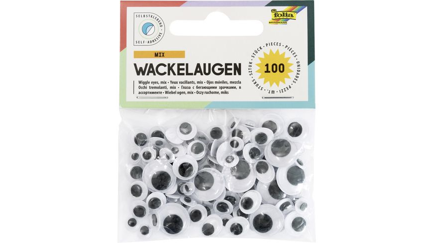 folia selbstklebende Wackelaugen 100 Stueck