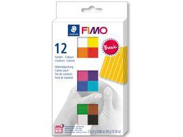 STAEDTLER Modelliermasse FIMO Basic Colours 12er Pack