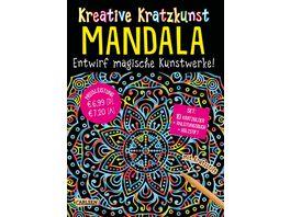 Buch Carlsen Kreative Kratzkunst Mandala Set mit 10 Kratzbildern Anleitungsbuch und Holzstift