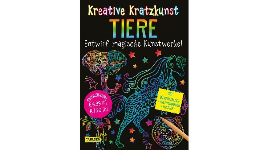 Buch Carlsen Kreative Kratzkunst Tiere Set mit 10 Kratzbildern Anleitungsbuch und Holzstift