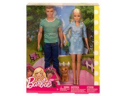 Mattel Barbie Barbie und Ken mit Welpen und 2 Trinkbechern