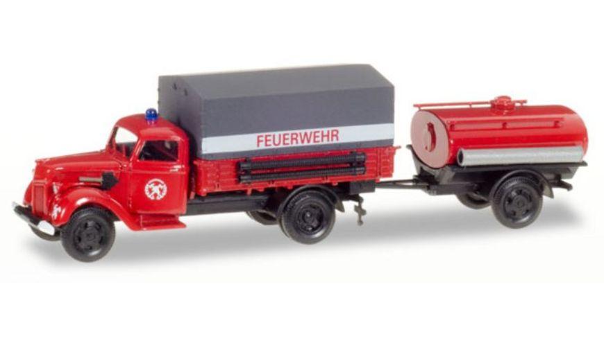 Herpa 307956 Ford V 3000 Planen LKW mit Tankanhaenger Feuerwehr