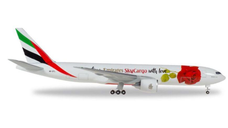 Herpa 531009 Wings Emirates SkyCargo Boeing 777F From Emirates SkyCargo with love A6 EFL