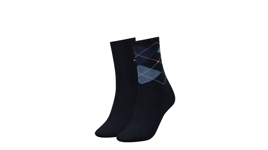 TOMMY HILFIGER Damen Socken Check 2er Pack