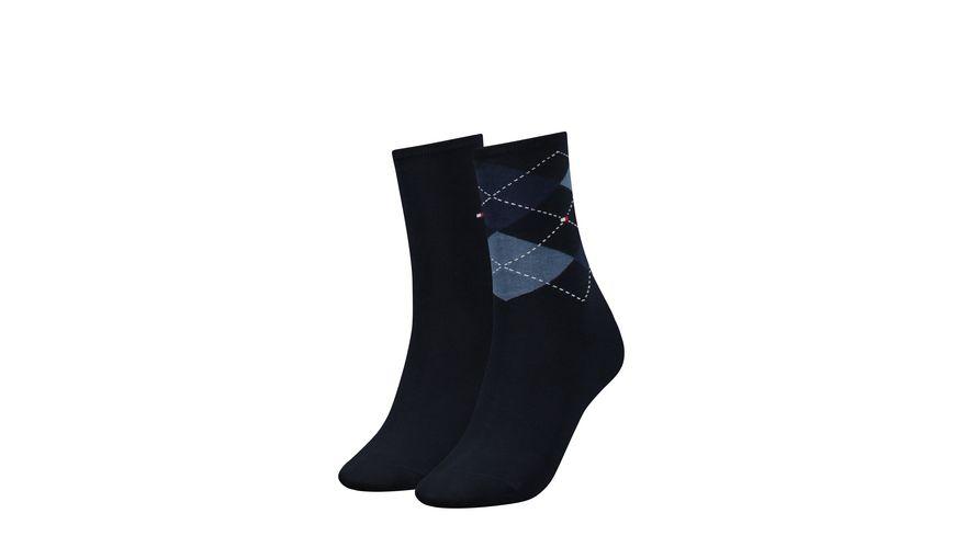 TOMMY HILFIGER Damen Socken Check 2er Pack