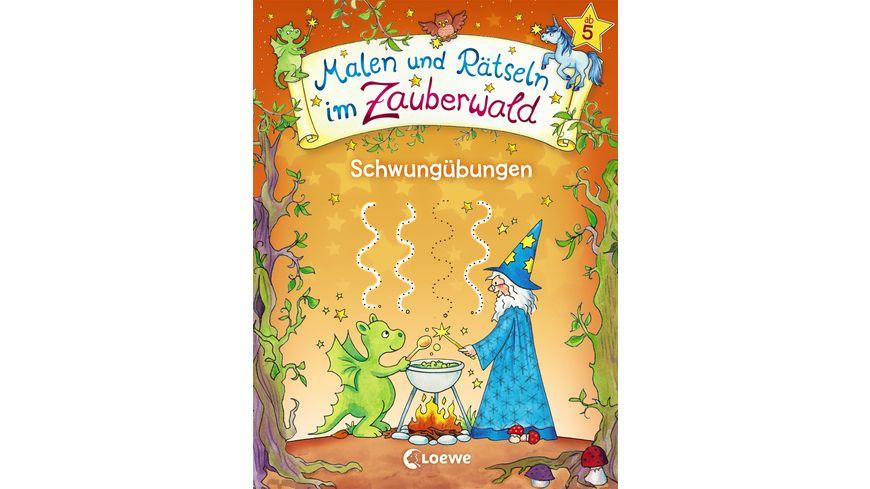Buch Loewe Malen und Raetseln im Zauberwald Schwunguebungen