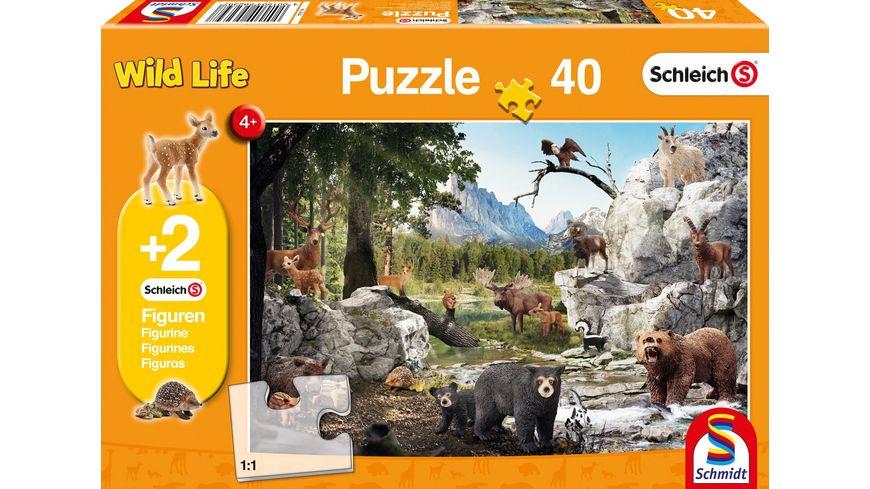 Schmidt Spiele Kinderpuzzle Schleich Tiere des Waldes 40 Teile