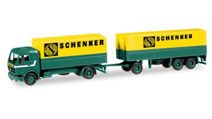 Herpa 308687 Mercedes Benz Planen Haengerzug Schenker
