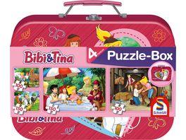 Schmidt Spiele Kinderpuzzle Bibi und Tina Puzzle Box im Metallkoffer 4 Puzzle