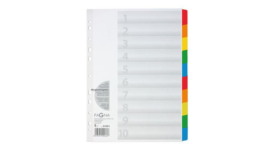 PAGNA Register blanko 10 tlg weiss mit farbigen Taben
