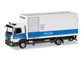 Herpa 093538 Mercedes Benz Atego Koffer LKW mit Ladebordwand Polizei Hamburg Entschaerfer