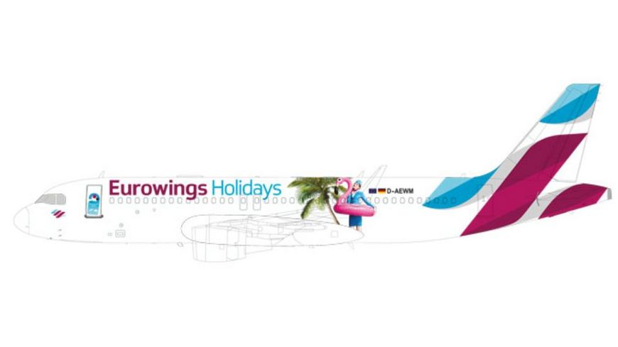 Herpa 611893 Eurowings Europe Airbus A320 Eurowings Holidays OE IQD