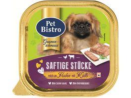 Pet Bistro Nassfutter fuer Hunde Pastete mit Huhn und Kalb