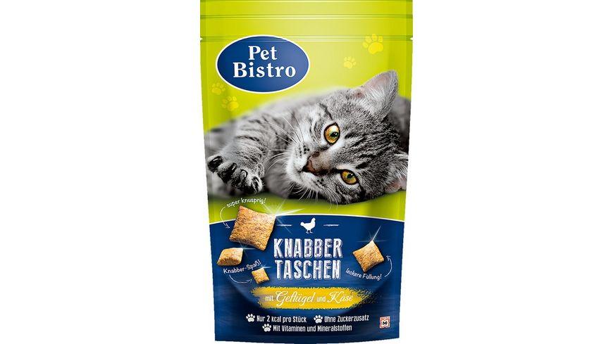Pet Bistro Katzensnack Knabbertaschen mit Gefluegel und Kaese