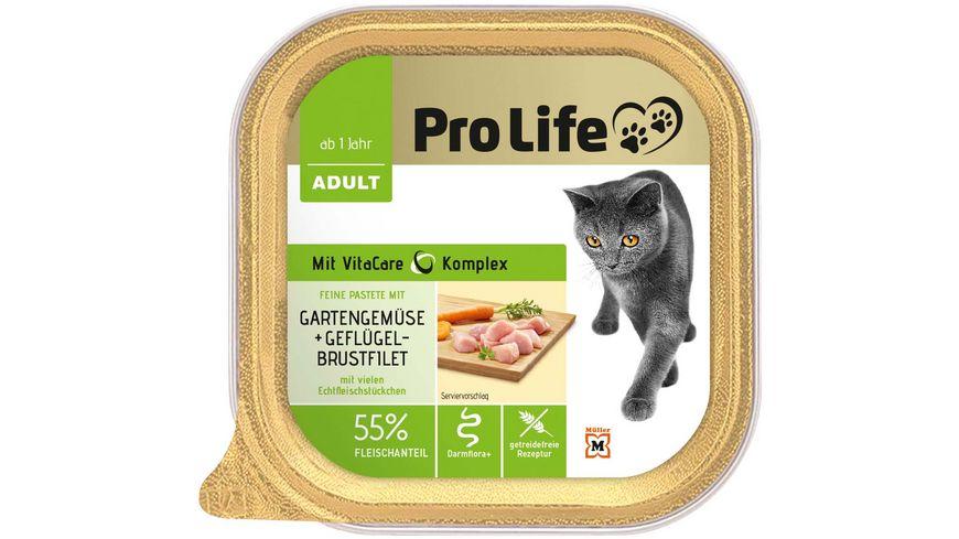 Pro Life Katze Katzennassfutter Pastete mit Gefluegelbrustfilet und Gartengemuese